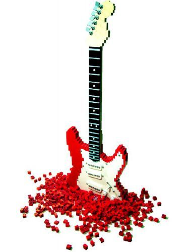 For Carmen--a LEGO guitar for Carmen--she loves to put together Legos and she plays red electric guitar