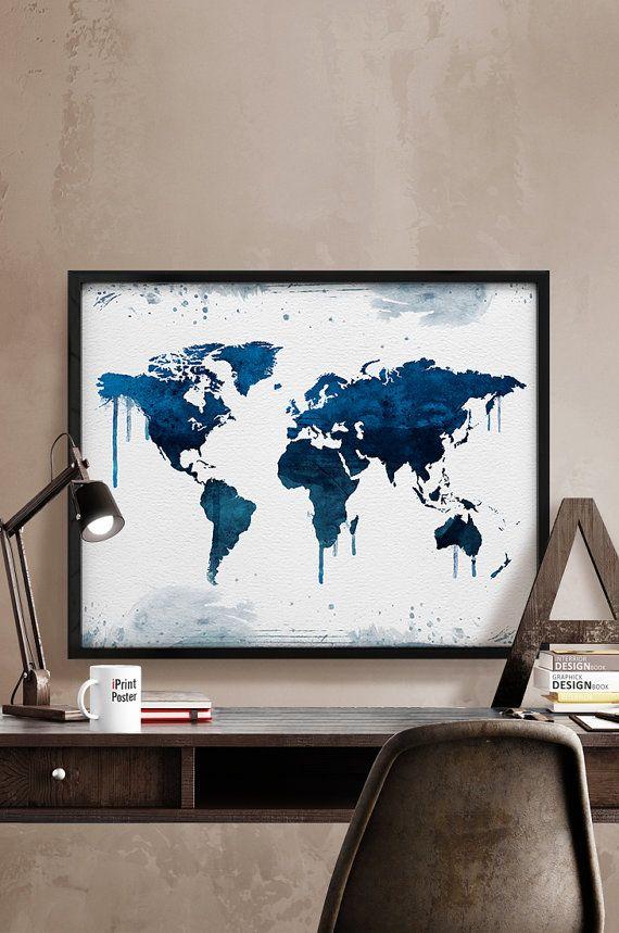 World map, Print, Poster, Watercolor, World map watercolor, Art, Gift, World map illustration, Artwork, Wall art, Home Decor, iPrintPoster.