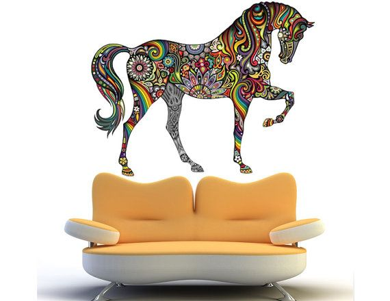 abstract horse wall sticker colorful horse wall decal decor