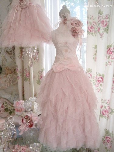 Fluffy PInk Table Top Petite Dress Form