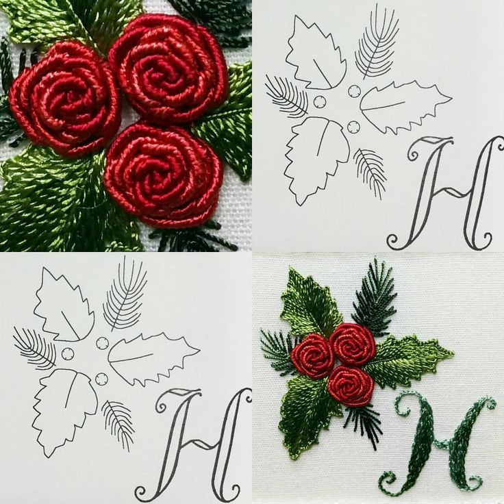 HOLLY.....Christmas isn't that far away, so for the letter H this is perfect! Bullion Roses, Feather Stitch and Buttonhole Stitch are used for this design. NOT AVAILABLE AS A COMPLETE KIT. FROM THE DESIGN APPLES TO ZINNIAS #1603 www.edmar-co.com #edmarco #edmar #edmarthreads #needleart #needlework #embroidery #BrazilianEmbroidery #artofdimensionalembroidery #artofbrazilianembroidery #embroideryart #vintageneedlework #handembroidery #dimensional #dimensionalembroidery #rayonthread #Holly #...
