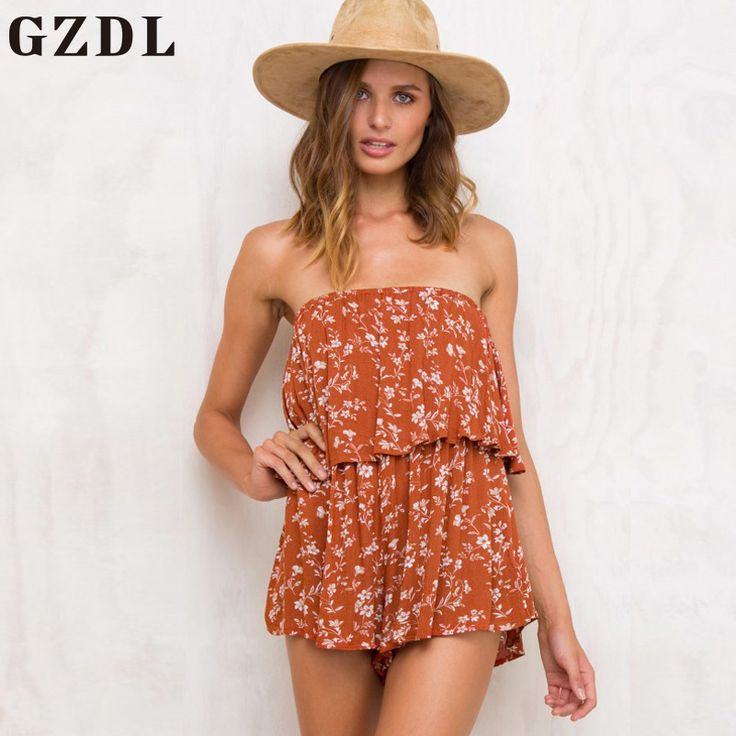 GZDL Chiffon Print Orange Women Summer Jumpsuit Overall Sexy Backless Bodysuit Off Shoulder Fashion Party Playsuit Romper CL4216 #Affiliate