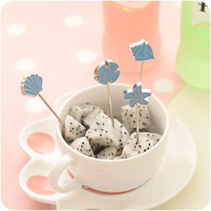4Pcs Creative European-style Wedding Gift Cartoon Blue Cake Fruit Fork Set Cutlery Tableware Sets Kitchen Accessories