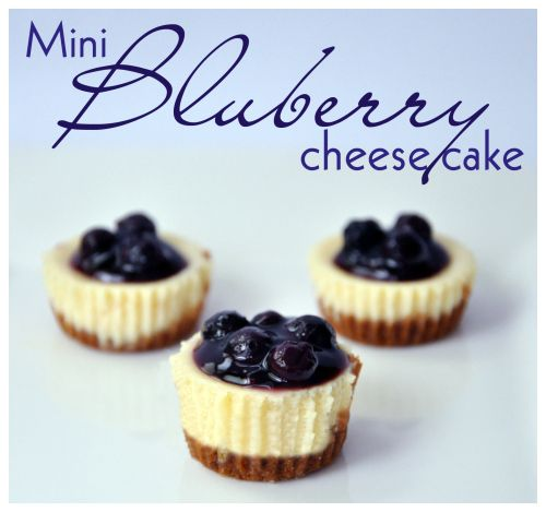 mini blueberry cheesecakes (make your own blueberry filling with frozen blueberries, sugar, a little starch in a saucepan and boil until liquid thickens)