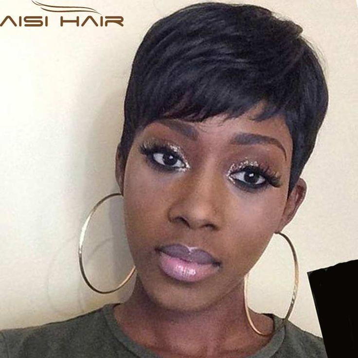 Feminino Peruca Preta Reta Curta Perucas para As Mulheres Negras de Cabelo Curto Em Linha Reta Barato Curto Peruca Preta Resistente Ao Calor New Arrival