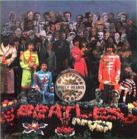 Alternative photograph from the Beatles Sgt. Pepper's Lonely Hearts Club Band album cover shoot. Circa 1967
