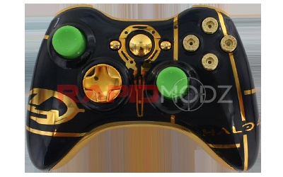 Just in time for the release of the new Halo game, Rapidmodz.com has released our new Halo 4 Premium controller for Xbox 360. It features a custom Halo 4 design on a gold shell. Available with custom buttons, thumbsticks, rapid fire, and exclusive add-ons. Order today!
