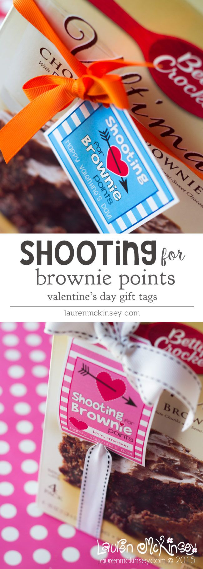 Shooting for brownie points for boys and girls :: Valentine's Day printable from Lauren McKinsey