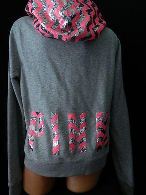 Victoria Secret Pink Bling Sequin Gray Aztec Hoodie Jacket L