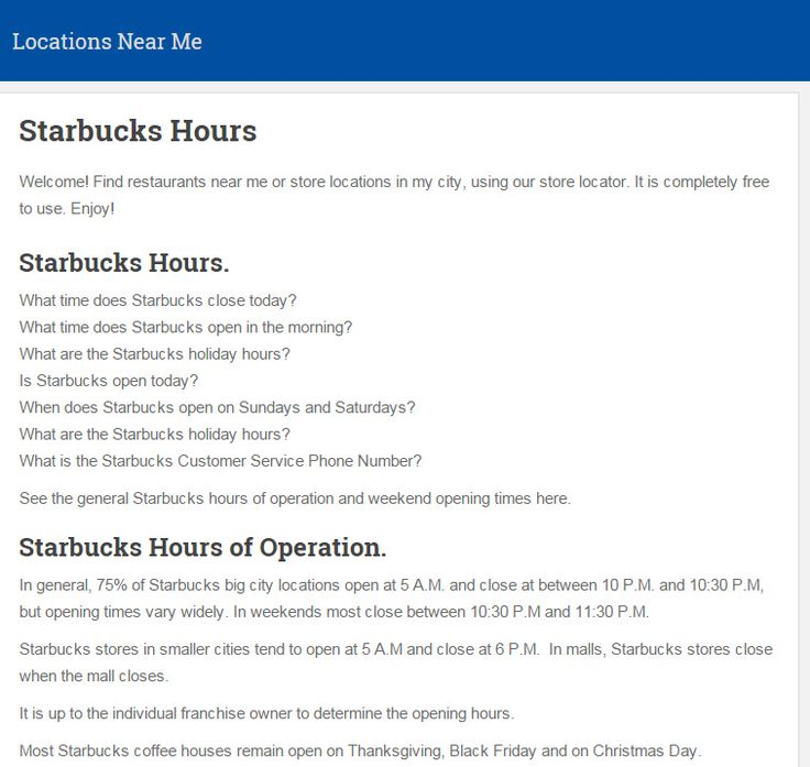 What time does Starbucks close. See the general #StarbucksHours of operation and weekend opening times here.