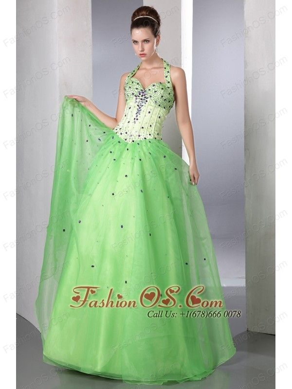 Spring Green A-line Halter Prom Dress Satin and Organza Beading Floor-length  http://www.fashionos.com  This fashion spring green halter-top neckline dress features a sweetheart neck and dropped waist line and heavily beaded bodice. The full length skirt falls from the body-hugging waist in tiers with a bustle effect.