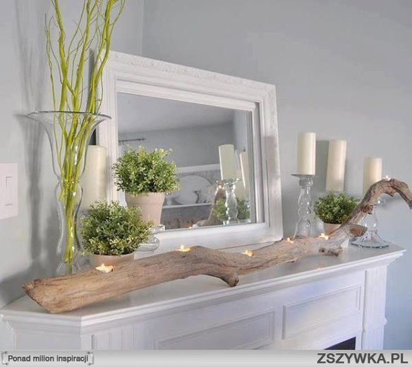 dekoracje wnetrz , ciekawe pomysly: Mantels, Idea, Trees Branches, Corner Fireplaces, Families Rooms, Driftwood Candles Holders, Mantles, Drift Woods, Teas Lighting