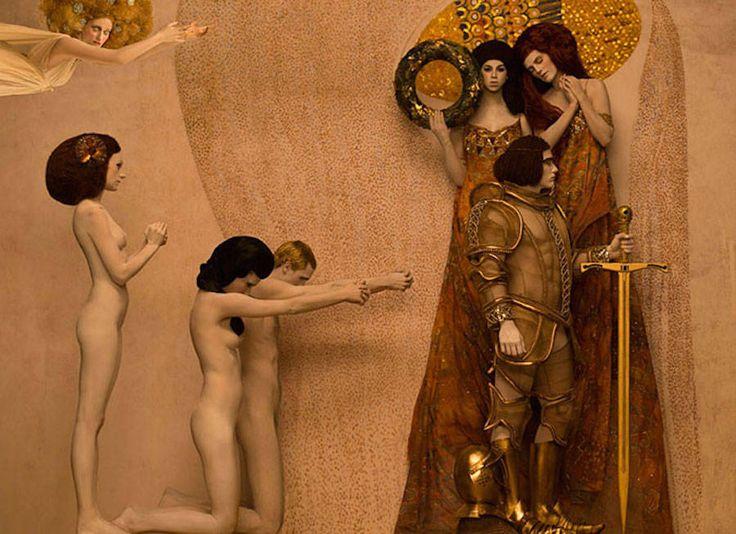 Le photographe Inge Prader a réalisé d'incroyables clichés en hommage au Cycle d'Or du peintre symboliste autrichien Gustav Klimt.