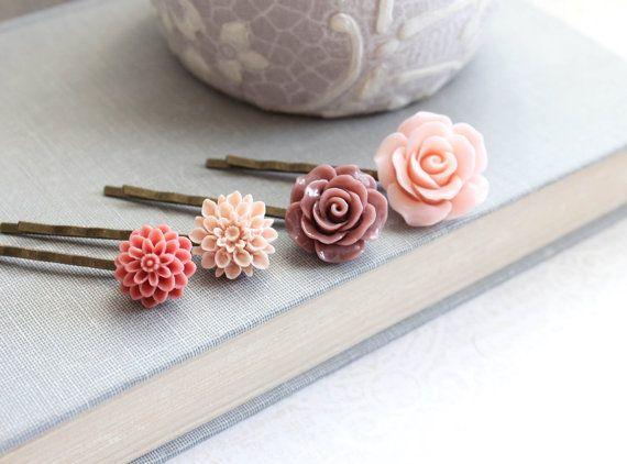 Flor rosa horquillas malva rosa polvoriento pelo Floral