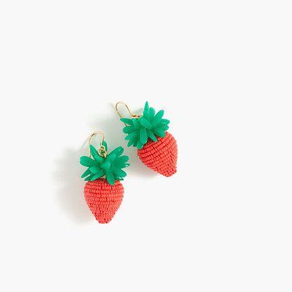 "These strawberry earrings = our fresh accessory pick. P.S. You'll be seeing even more fruit motifs this summer... Get excited. <ul><li>Length: 1 5/8"".</li><li>Miyuki seed beads, acrylic beads, brass earwire, flash gold.</li><li>Import.</li><li>Online only.</li></ul>"