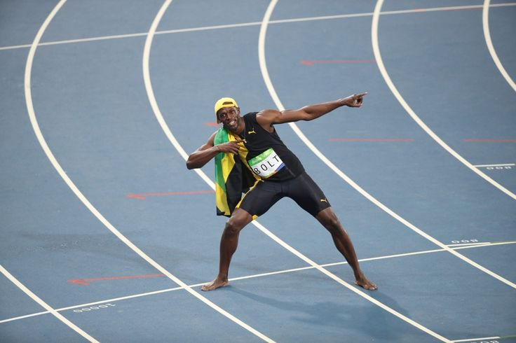 The moment of victory - Jamaican sprinter Usain Bolt celebrates after winning men's 100 metres - Olympic Games, Rio de Janeiro