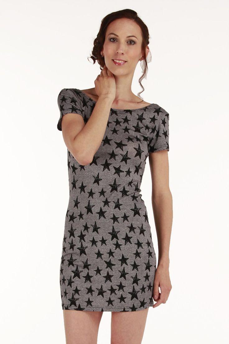 csillagmintás rövidujjú szűk miniruha