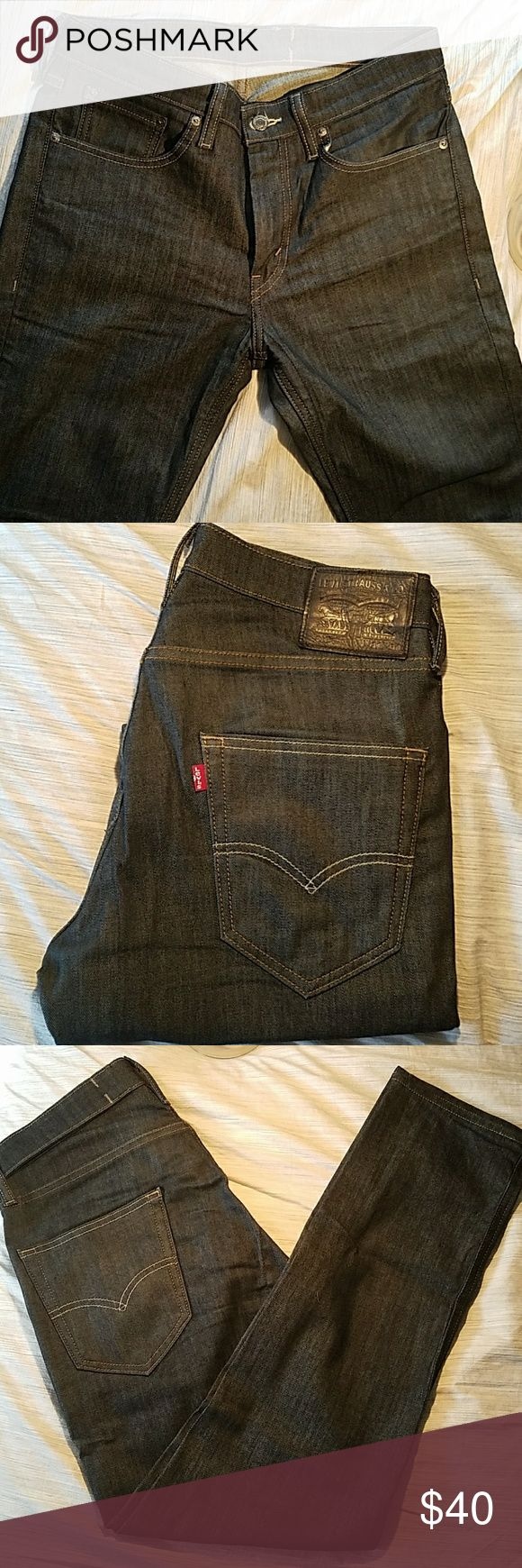 Levi's 511 Mens Jeans - Dark Wash Commuter Size 32 x 30  Commuter Jeans - Made for cyclists, with a reflective lining on the inside of each pant leg. Made to be visible when the wearer cuffs up his pant leg while riding his bike.  Slightly worn. Excellent condition. Levi's Jeans Skinny
