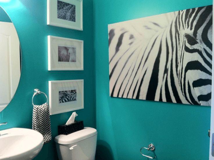 Teal zebra print bathroom decor