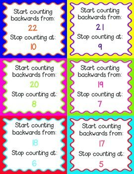Counting Backwards Task Cards by The Vivacious Teacher ~ Students pick a colorful card and follow the directions to count backwards from a starting number to a specific ending number. Grades K-2