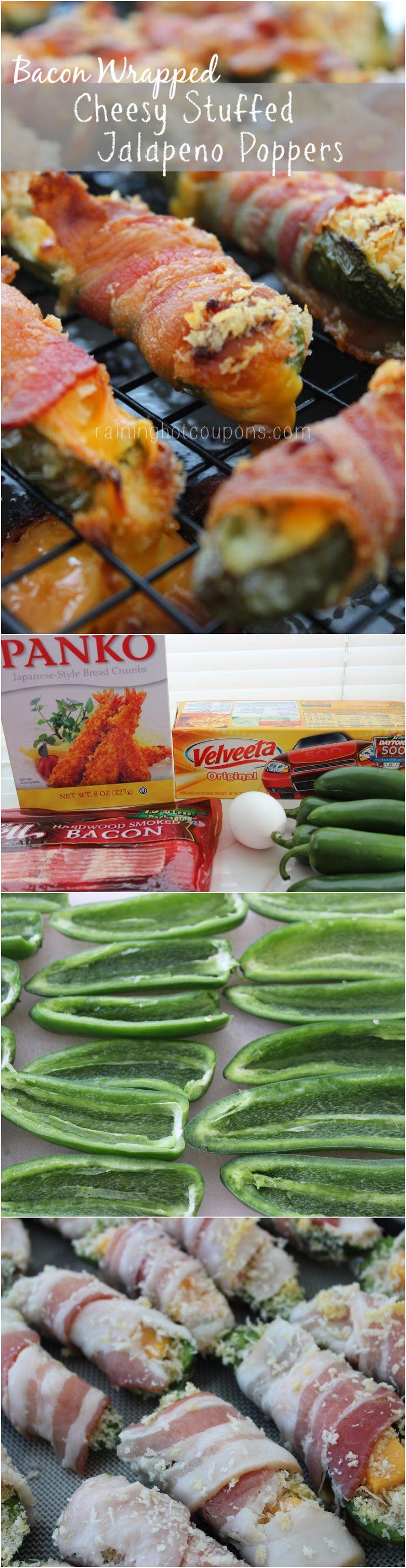 Bacon Wrapped Velveeta Cheesy Stuffed Jalapeno Poppers