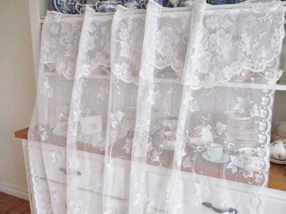 Vintage white lace curtain panel french by EnglishGardenTeaShop