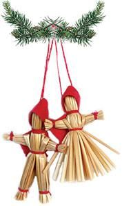 Straw Tomte Couple Ornament