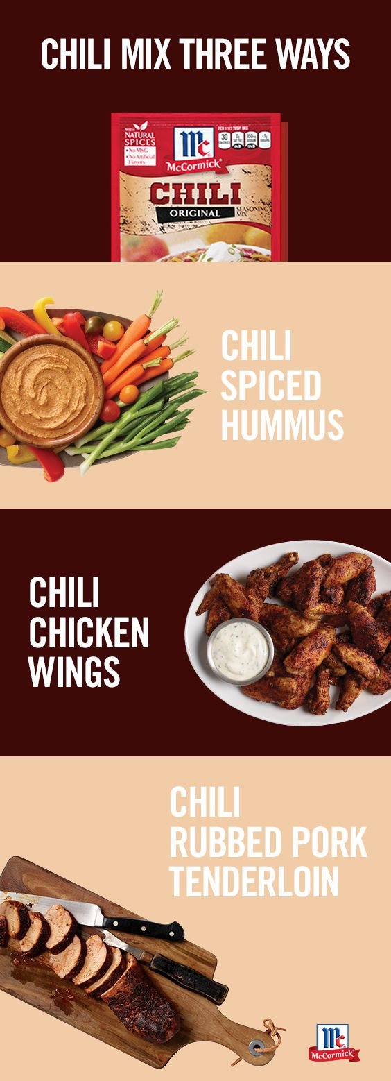 Transform the classics with Chili Seasoning Mix. These few ingredient recipes like Chili Wings, Chili Hummus and Chili Pork Tenderloin are perfect as football party appetizers or a busy weeknight meal.