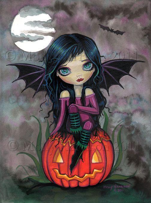 Pumpkin Pixie Big Eye Vampire with Jack-o-Lantern Fine Art Giclee Print by Molly Harrison 9 x 12
