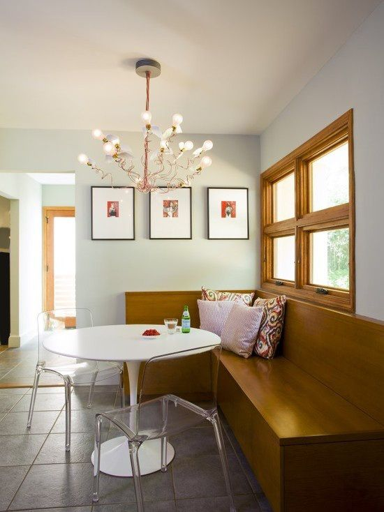 Solution for oak trim - contrasting but neutral/natural paint color and a mix of modern elements