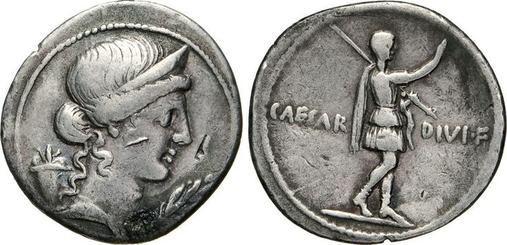 NumisBids: Numismatica Varesi s.a.s. Auction 65, Lot 141 : OTTAVIANO (32-31 a.C.) Denario. D/ Busto della Pace R/ Ottaviano...
