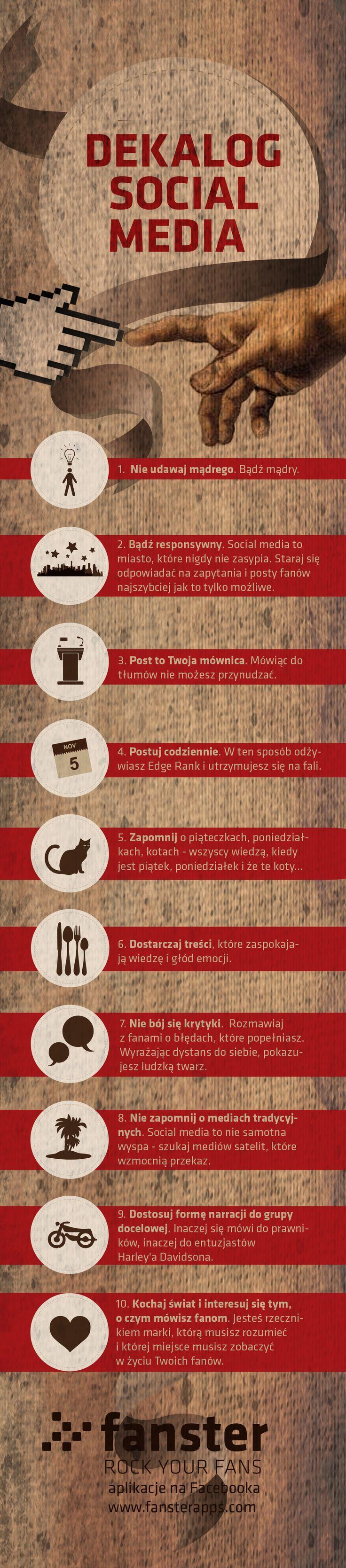 Dekalog social media. http://www.fanster.pl/blog/infografika-dekalog-social-media/ #infografika #socialmedia