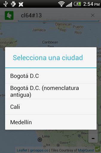 Direcciones Colombia te permite buscar y ubicar en el mapa direcciones de las ciudades principales de Colombia.<p>En esta primera versión puedes buscar direcciones en las ciudades (área metropolitana) de:<p> - Bogotá D.C. (nomenclatura nueva y antigua)<br> - Cali<br> - Medellín