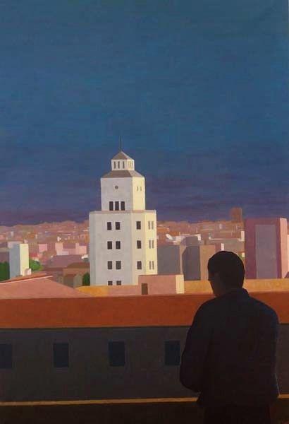 Fernando Puente. Óleo sobre lienzo. Amanecer en la ciudad.