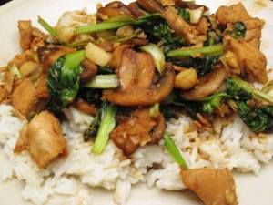 Chicken and Tatsoi Stirfry