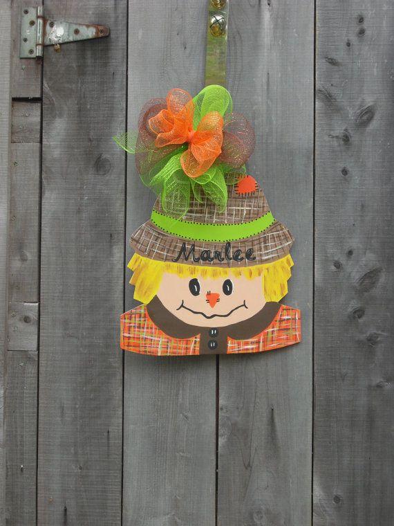 halloween scarecrow door hanger -  fall scarecrow door hangers -  fall decoration - fall decor -  halloween - birthday