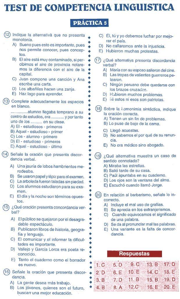Razonamiento Verbal: Competencia Lingüística - Test