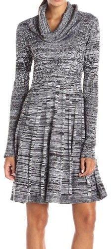 Calvin Klein Women's Cowl Marled Sweater Dress (L, Black/White)