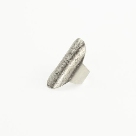 Muchi Galoosh Carved Shield Ring – Silver from Rustic Ring Radiance