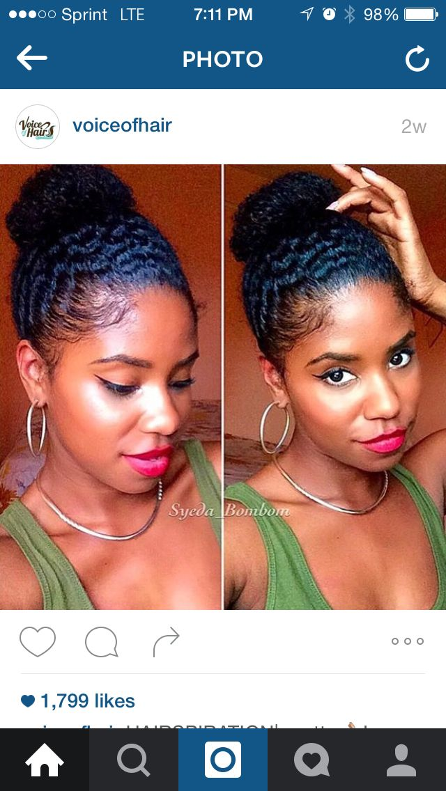 Wash & Go bun. She sprayed her hair with a mix of water & conditioner. Then used Eco styler gel for her edges @Syeda_BomBom