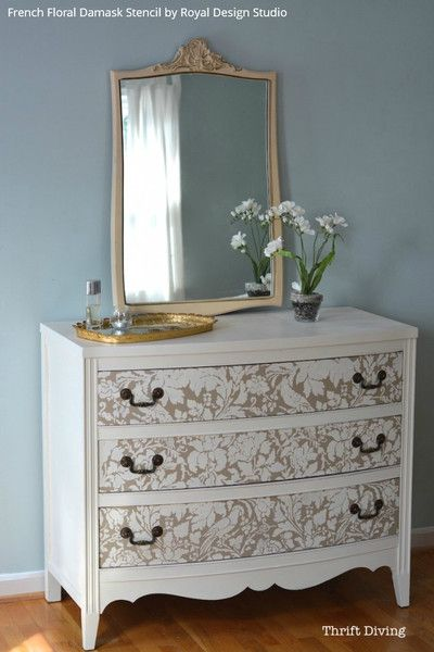 472 best stenciled and painted furniture images on pinterest - Paint stencils for furniture ...