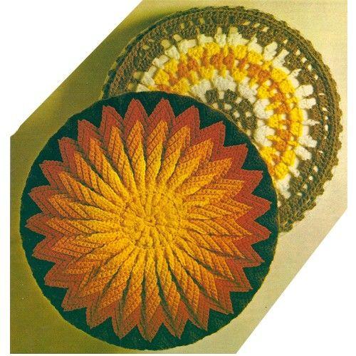 sun crochet pillow