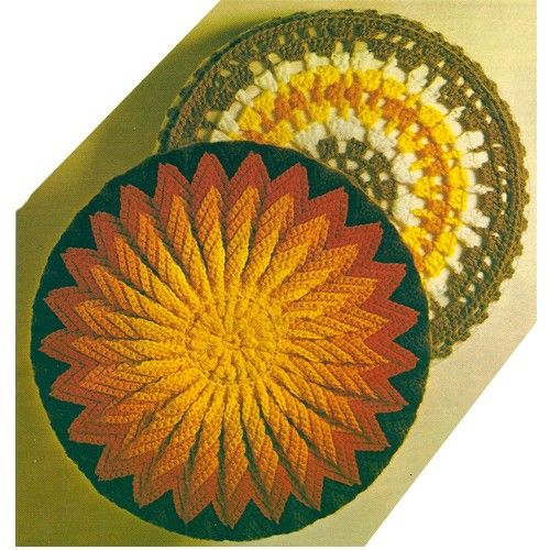 sun crochet pillow