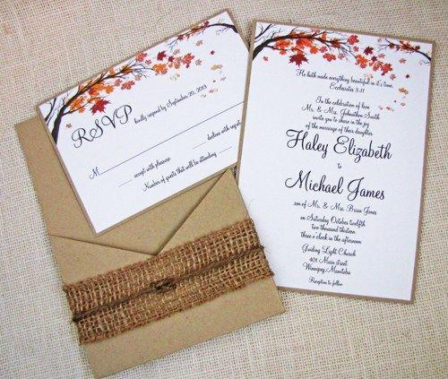 handmade fall wedding invitations | Fall Tree and Leaves Rustic Country Pocket Wedding Invitation