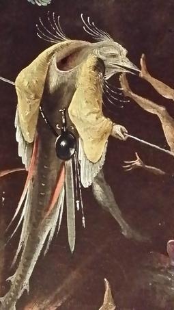 Sur un fragment conservé à Munich d'un Jugement dernier, jugé exécuté par un suiveur de Bosch à la fin du XVIe siècle, cet oiseau anthropomorphe manie ses armes d'un air méchant. Nombreux sont avec lui, dans cette scène, les personnages causes de nos maux éternels, punition pour nos innombrables turpitudes,