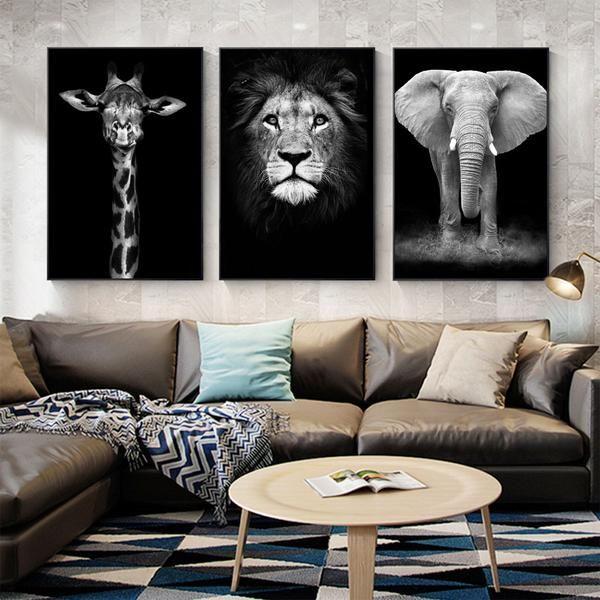 Elephant Art Canvas Lion Art Canvas Giraffe Art Canvas Wildlife Animal Art Safari An Safari Decor Living Room Living Room Themes Elephant Decor Living Room Elephant decor for living room