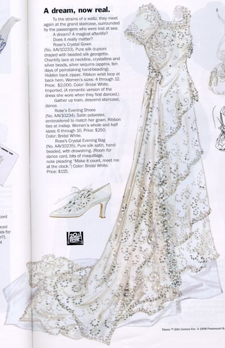 """1998 J Peterman catalog's Titanic """"Rose's crystal wedding gown"""", evening shoes & drawstring evening bag -- purse silk duping draped w/ hand-beaded silk georgette overdress trimmed w/ Chantilly lace (at neck), crystalline & silver beads, crystal & silver sequins"""