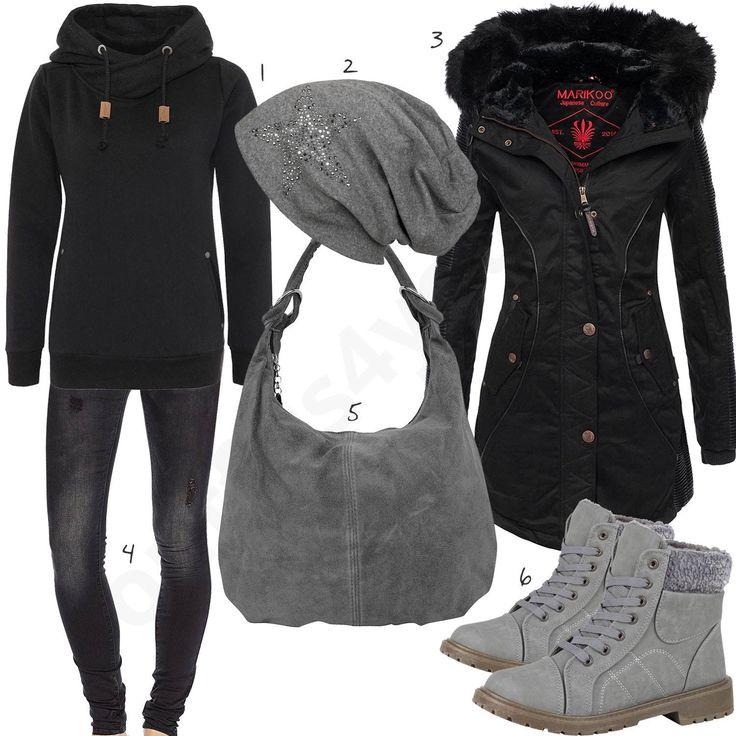 Winteroutfit für Damen mit schwarzem Sublevel Hoodie, Marikoo Parka, Only Skinny Jeans, grauer Stylebreaker Mütze, Ambra Shopper und gefütterten Boots. #outfit #style #fashion #womensfashion #womensstyle #womenswear #clothing #frauenmode #damenmode #handtasche  #inspiration #frauenoutfit #damenoutfit