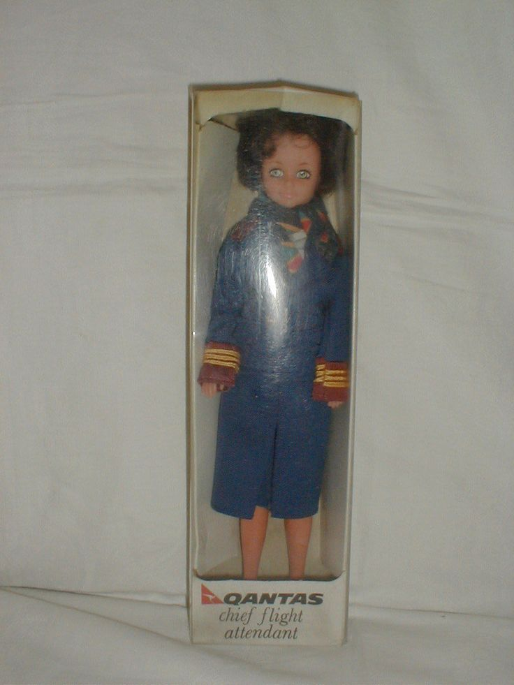 """VINTAGE AIRLINE DOLL WELL MADE """"QANTAS"""" UNIFORM BY YVES SAINT LAURENT 