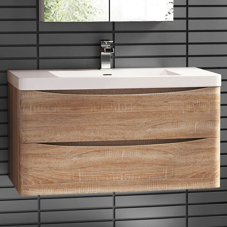 900 X 550mm Wall Mount Modern Oak Bathroom Vanity Unit Stone Countertop  Basin